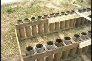 Four inch cardboard mortar tubes ready for loading